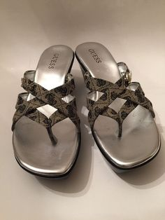Women's Guess Platform Wedge Sandal Black, Silver & Gray Fabric Logo Size 8M EUC #GUESS #PlatformsWedges