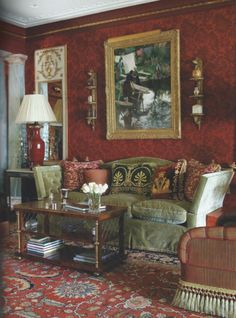 Interior Design by Connie Beale; as seen in Fairfield County Home magazine #redwalls, #traditionallivingroom, #conniebeale, #Italianate