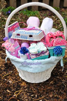 Easter basket for infant easter pinterest easter baskets babys first easter basket negle Images
