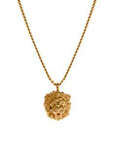 74a931d8a89e Bill Skinner Lion Pendant Necklace With Crystal Back Detail Detalles De  Espalda