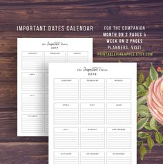 Yearly Planner 2016-2017 Important Dates by PrintablePineapple