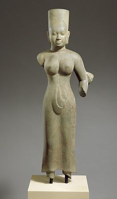 Standing Female Deity, probably Durga Period: pre-Angkor period Date: ca. last quarter of the 7th century–early 8th century Culture: Cambodia Medium: Stone Dimensions: H. 52 3/4 in. (134 cm); W. 18 in. (45.7 cm) Classification: Sculpture Credit Line: Purchase, Rogers Fund and Anonymous Gift, in honor of Martin Lerner, 2000 Accession Number: 2000.531