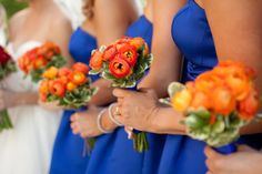 my bridemaid's orange ranunculus bouquets. my favorite flower against my favorite color.