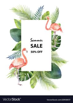 Watercolor vector summer sale banner of tropical leaves and the pink Flamingo isolated on white background. Poster Design Layout, Event Poster Design, Email Marketing Design, Sales And Marketing, Flyer Design Inspiration, Newsletter Design, Sale Banner, Hello Summer, Sale Poster