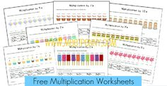 Free Multiplication Worksheets & Fact Cards to help understand multiplication (with visual cues)