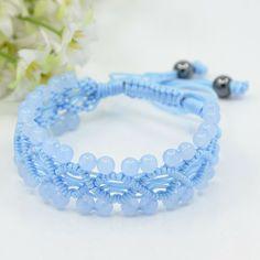 Trendy Jewelry Shamballa Bracelets, Braided Nylon Cord with Round Gemstone and Hematite Beads