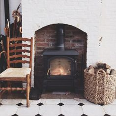 Wood burning stove in painted fireplace - could disguise poor brickwork Home Fireplace, Fireplaces, Cottage Fireplace, Brick Fireplace, Hearth And Home, Up House, Wood Burner, Herd, Hygge