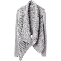 Helmut Lang Shawl Cardigan ($550) ❤ liked on Polyvore featuring tops, cardigans, sweaters, outerwear, jackets, drapey cardigan, long cardigan, long tops, drape cardigan and long gray cardigan