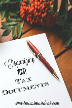 Organize Your Tax Documents. Organize your tax documents to make preparing your taxes faster and easier. Life Organization, Organizing Ideas, Organizing Documents, Organizing Life, Tax Preparation, Keeping A Journal, Tax Deductions, Filing System, Organize Your Life