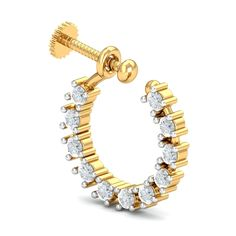 A charming nose ring (nath) design with 11 diamonds forming a cirlce on a round gold frame. It's for the ones who are yet to get their nose pierced and prefer to wear nose rings that can fit them without a piercing. The diamonds are each 2 cents and it's