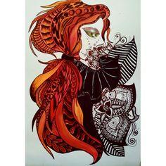 alien girl  zentangle art and psychedelic