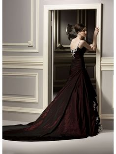 gothic wedding dresses | Home > Wedding > Red Lace Applique Gothic Wedding Dress