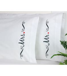 Mr and Mrs Pillowcase Pair Stamped Embroidery-20\