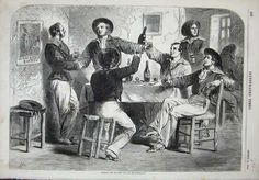 Sailors getting drunk in a tavern. ENGRAVING 1880