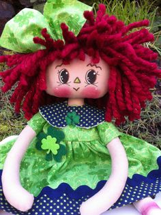 "13"" PRIMITIVE ST. PARTRICK'S DAY RED HAIR RAGGEDY ANN DOLL BY PRIMTIMES in Art, Direct from the Artist, Folk Art & Primitives 