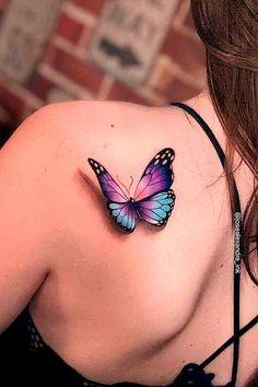 Purple Butterfly Tattoo, Butterfly Tattoo On Shoulder, Butterfly Tattoos For Women, Butterfly Tattoo Designs, Butterfly Tattoo Cover Up, Mom Tattoos, Body Art Tattoos, Hand Tattoos, Small Tattoos
