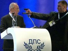 Police in Bulgaria have arrested a man after he jumped on stage and put a gun to the head of the leader of the country's ethnic Turkish party, Ahmed Dogan, as he was making a speech in Sofia. Make My Day, Challenge, Hey Man, Political Leaders, World Leaders, Bulgarian, Tv Videos, Viral Videos, Politicians