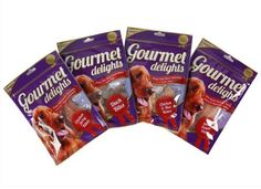 Gourmet Delights Dog Food - Ideal as a treat or reward 4 Assorted types in resealable bags: Chicken and rice bones Duck bites Sweet potato pieces Chicken jerky fillets   Best before January 2016