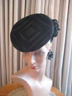 Stellar 40's Blk Felt Tilt Hat w Geometric Pattern on The Crown | eBay