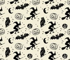 Would make a good tree skirt for a B tree    Bats and Jacks ~ Black on Cream fabric by retrorudolphs on Spoonflower - custom fabric