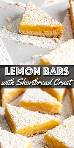 These refreshing Lemon Bars with Shortbread Crust are made with a creamy and tangy lemon custard filling baked on top of a buttery shortbread crust. Lemon Dessert Recipes, Lemon Recipes, Easy Desserts, Baking Recipes, Delicious Desserts, Health Desserts, Yummy Recipes, Brownie Recipes, Cookie Recipes