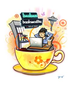 Bauhaus Books & Coffee in Seattle / Creator, Character and Illustration by PEPPERJERRY©