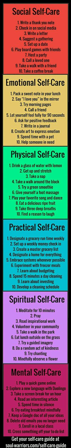 This list touches a bit on several categories' I am Passionate about: Social Self Care, Emotional S.C., Physical S.C., Practical S.C., Spiritual S.C., & Mental S.C....Free To Flourish