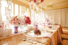 Reception table pink purple