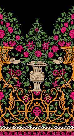 Textile Prints, Textile Design, Textiles, Pattern Art, Print Patterns, Floral Pattern Vector, Flora Flowers, Truck Art, Anime Girl Cute