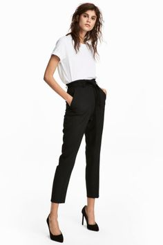 Trousers with a tie belt - Black - Ladies | H&M GB 1