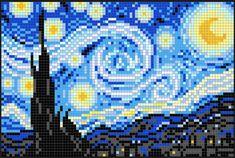 The Starry Night Perler Bead Pixel Pop Art Pattern - Pixel Art Shop<br> Cross Stitch Art, Cross Stitch Designs, Cross Stitching, Cross Stitch Embroidery, Cross Stitch Patterns, Pop Art Patterns, Perler Patterns, Mosaic Patterns, Diy Perler Beads