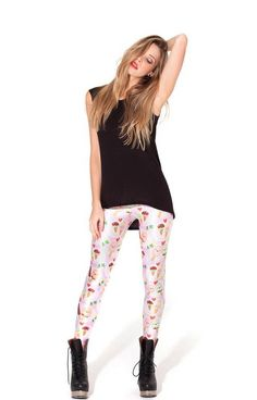 You Scream Ice Cream Leggings (Made to Order) by Black Milk Clothing