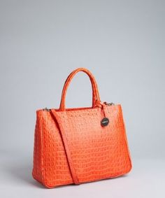 Furla passionfruit lizard stamped leather 'Practica' bag | BLUEFLY up to 70% off designer brands at bluefly.com