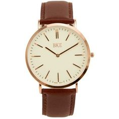 BKE Round Watch - Brown/White (€27) ❤ liked on Polyvore featuring jewelry, watches, white wrist watch, brown strap watches, white jewelry, bke watches and quartz movement watches