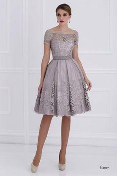 2015 Lace Knee Length Mother Of Bride Dresses Bateau Short Sleeves A-line Mother Of Groom Dresses M010