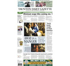 The front page of the Taunton Daily Gazette for Tuesday, Dec. 9, 2014.