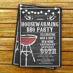 Housewarming party invitations template, housewarming bbq party, i do bbq, bbq invitations, chalkboard invite, Art Party Invitation