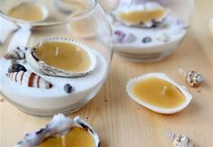 DIY Seashell Beeswax Tealights Wow, this one is quite distinguished from rest of the ideas. Precious seashells are filled with beeswax, and they are turned into gorgeous candles. They are just going to add a lot of charm to your place. Candles And Candleholders, Beeswax Candles, Diy Candles, Seashell Candles, Candle Wax, Glass Candle, Citronella Candles, Glass Globe, Sea Glass