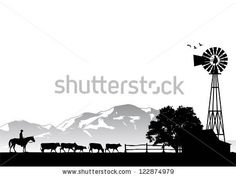 Silhouette of a man riding horse in cow farm, vector - stock vector