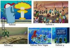 Fallout franchise in a nutshell Fallout 4 Funny, Fallout Comics, Fallout 2, Fallout New Vegas, Heroes And Generals, Pip Boy, Xbox, In A Nutshell, Gaming Memes