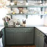 kitchens - Sherwin Williams - Rosemary - roman shades green kitchen cabinets black granite countertops green shelves beadboard backsplash  Stunning