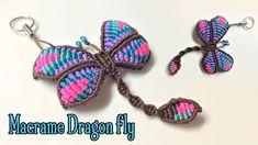 Macrame animal tutorial the dragon fly key chain - YouTube