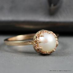 14k Gold Pearl Ring   Pearl Engagement  Ring by PPennee on Etsy, $285.00