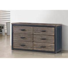 Heritage 6-drawer Metallic Black - Grey Wood Dresser Rustic Vintage Style