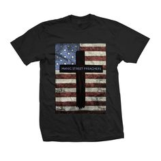 Manic+Street+Preachers+-+US+Flag+Cross+T-Shirt