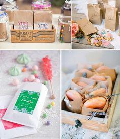Bolsas de papel kraft, un imprescindible en la decoración de mesas dulces. Toma nota de las ideas que te damos para tu candy bar en El Blog de Cocottó.