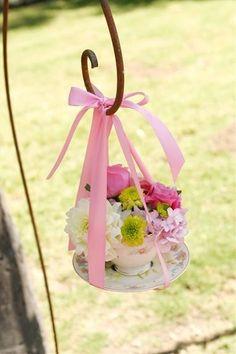 teacup flower arrangements | Sweet Tea Cup Flower arrangement