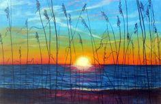 sunset scene painting