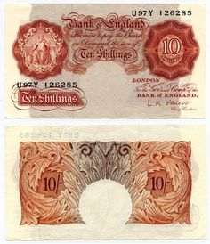 Great Britain Brown Colored Ten Shillings Without Security Thread Seated Britannia and Signed Peppiatt Prefix Violet Background, Bank Of England, Old Money, Prefixes, Old Coins, Great Britain, Nostalgia, Commonwealth