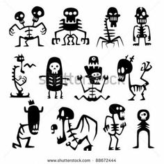 Collection of cartoon funny vector monsters silhouettes stock image